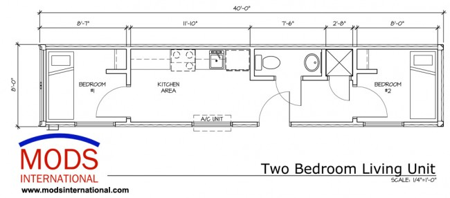 MODS Two Bedroom Living Unit Floor Plan