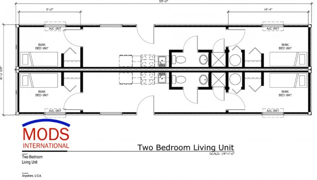 MODS Two Bedroom Living Units Floor Plan