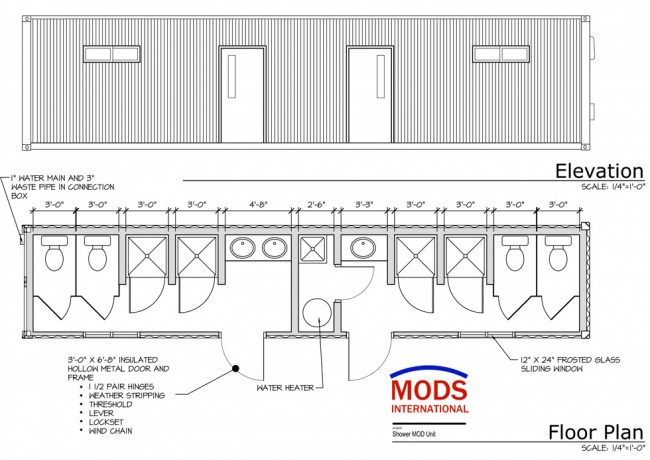 MODS Shower Unit Floor Plan