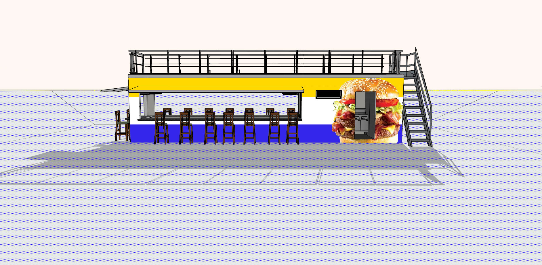MODS Shipping Container Burger Pop-Up Store Design
