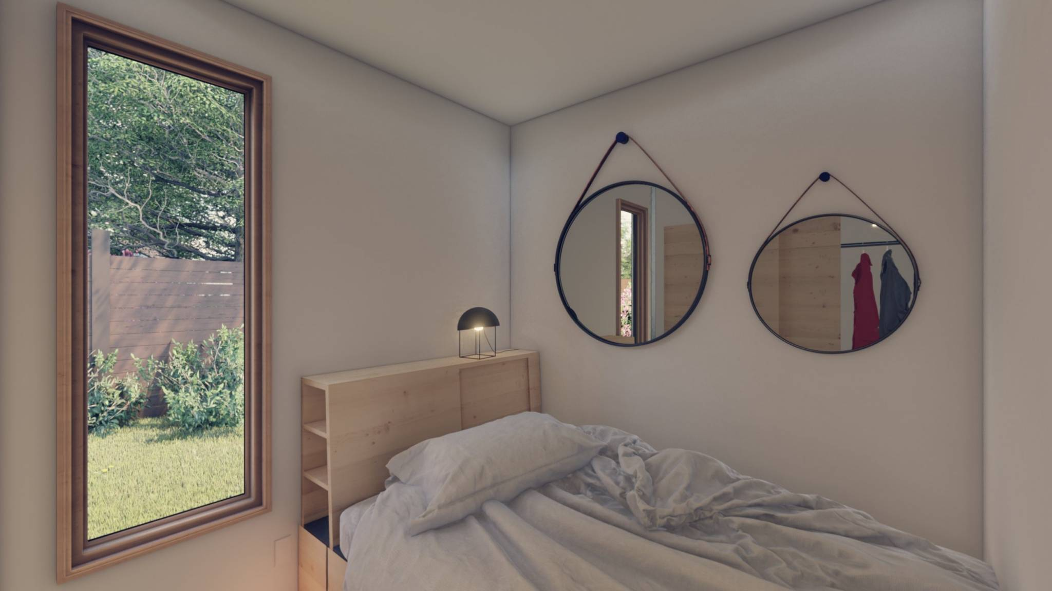 shipping container tiny home bedroom