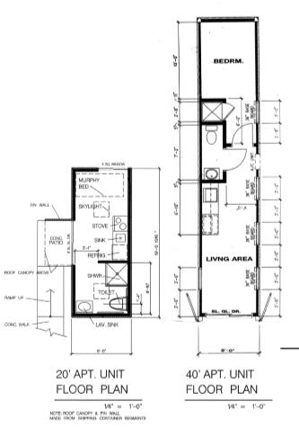 floorplan of 20 and 40 foot modular tiny home unigs