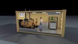 20 foot container as generator equipment housing