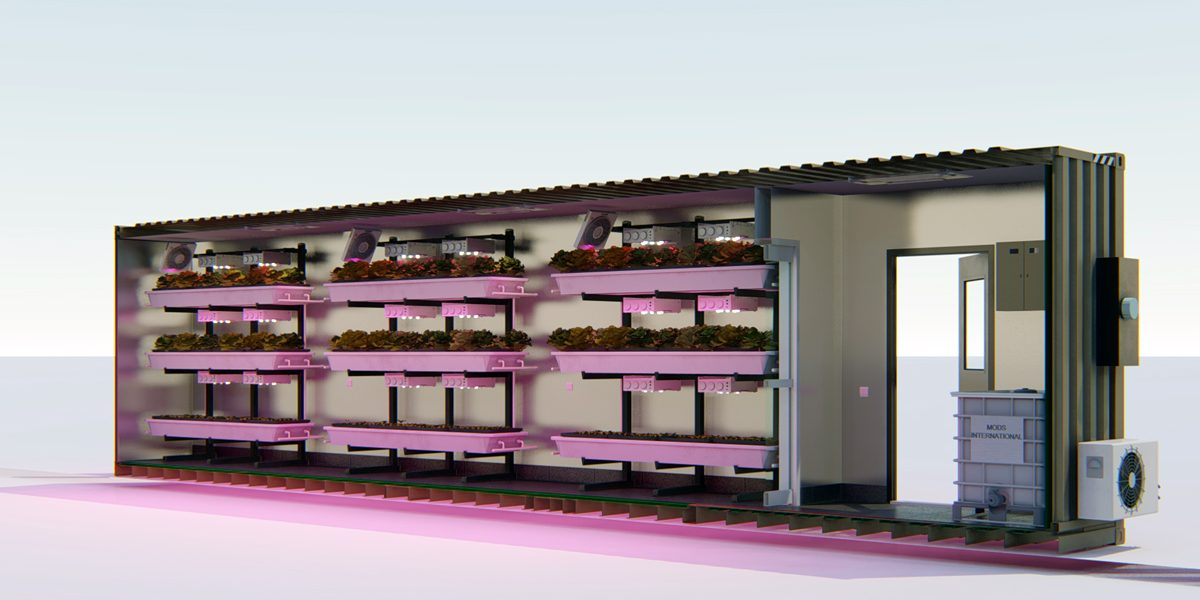 container farming box cross section